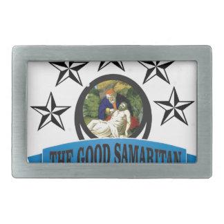 bible art good samaritan rectangular belt buckle