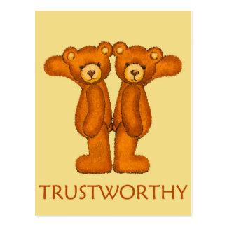 Bible Bears ~ Trustworthy Scripture ~ Flashcard Postcard
