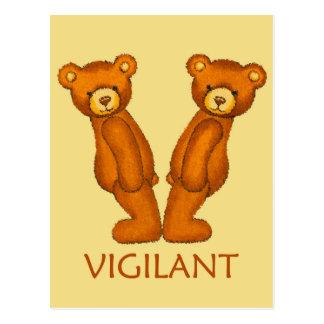 Bible Bears ~ Vigilant Scripture ~ Flashcard Postcard