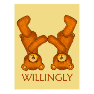 Bible Bears ~ Willingly Scripture ~ Flashcard Postcard
