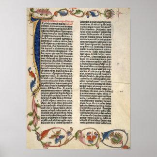 Bible genesis Gutenberg  page 1 Poster