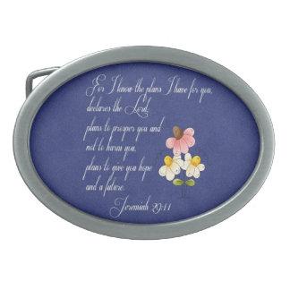 Bible Inspirational Verse  Jeremiah 29:11 Oval Belt Buckle
