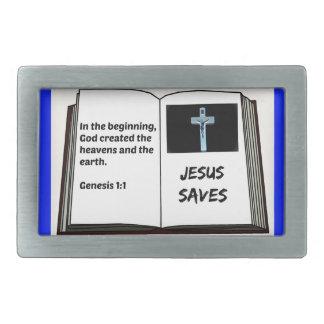 """Bible """"Jesus Saves"""" Series: Genesis 1:1 Belt Buckles"""