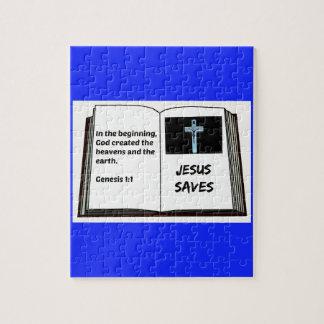 """Bible """"Jesus Saves"""" Series: Genesis 1:1 Jigsaw Puzzle"""