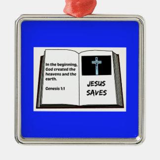 """Bible """"Jesus Saves"""" Series: Genesis 1:1 Metal Ornament"""
