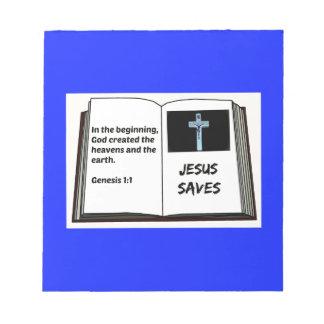 "Bible ""Jesus Saves"" Series: Genesis 1:1 Notepad"