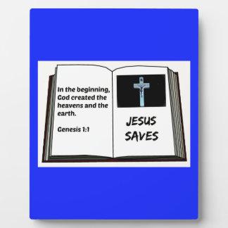 "Bible ""Jesus Saves"" Series: Genesis 1:1 Plaque"
