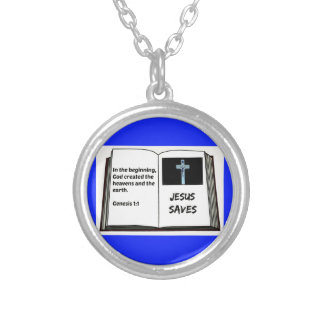 """Bible """"Jesus Saves"""" Series: Genesis 1:1 Silver Plated Necklace"""