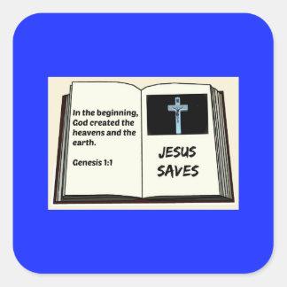 """Bible """"Jesus Saves"""" Series: Genesis 1:1 Square Sticker"""