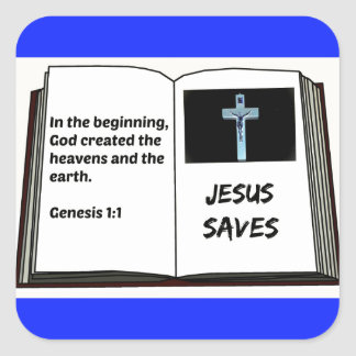 "Bible ""Jesus Saves"" Series: Genesis 1:1 Square Sticker"