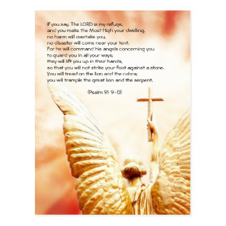 Bible passage, angel of the Lord, psalm 91 Postcard