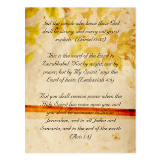 Bible passage, grunge flowers postcard