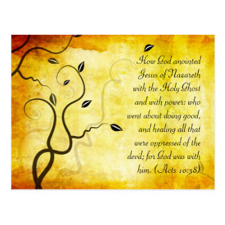 Bible passage, grunge tree branches postcard