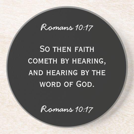 Bible passage Hebrews 11:6 in white text. Coaster