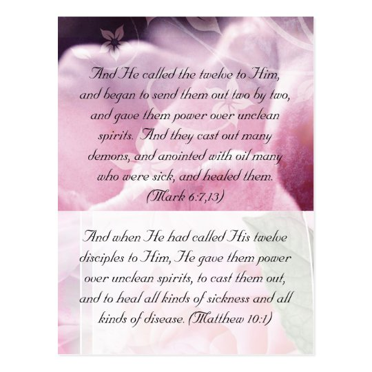 Bible passage, pink beauty postcard