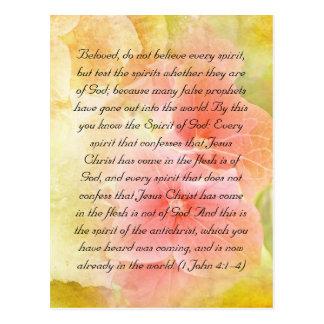 Bible passage, test the spirits postcard