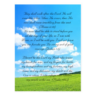 Bible passage, the fields and blue sky postcard
