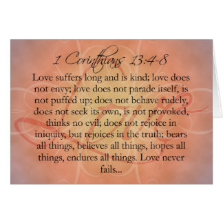 Bible Scripture Love Script on Orange Vintage Note Card