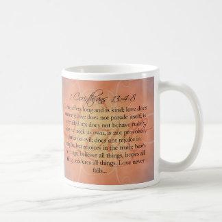 Bible Scripture Love Script on Orange Vintage Coffee Mug