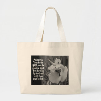 BIBLE SCRIPTURE PSALM 37:3 TRUST THE LORD LARGE TOTE BAG