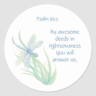 Bible Scripture Psalm 65:5 By Awesome Deeds Answer Round Sticker