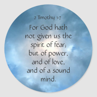 Bible Scripture Timothy No Fear Quote Classic Round Sticker