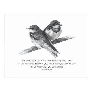 BIBLE TEXT: ZEPHANIAH: BIRDS IN PENCIL POSTCARD