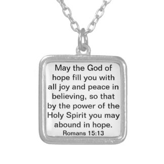 bible verse about hope Romans 15:13 Silver Plated Necklace