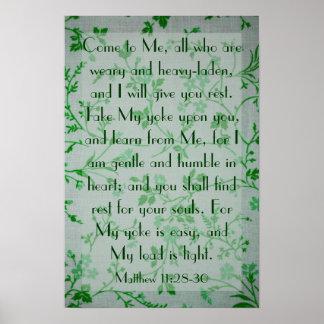 bible verse about peace Matthew 11:28-30 Poster
