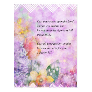 Bible verse and flowers postcard