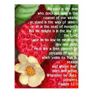 Bible verse and strawberry postcard
