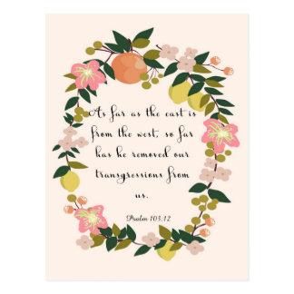 Bible Verse Art - Psalm 103:12 Postcard