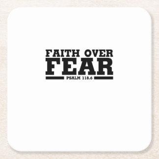Bible Verse Christian Jesus Faith Over Fear Psalm Square Paper Coaster