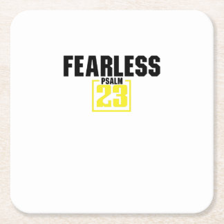 Bible Verse Christian Jesus Fearless Psalm 23 Square Paper Coaster