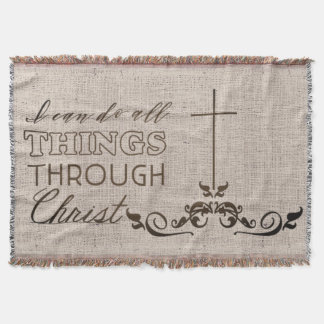 Bible Verse Cross Calligraphy Christian Gift Throw Blanket