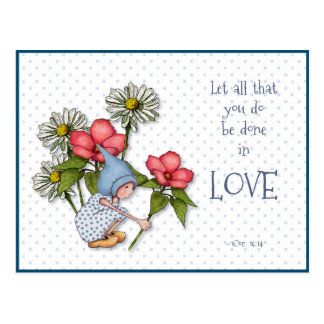 Bible Verse Do Everything in LOVE, Child, Flowers Postcard