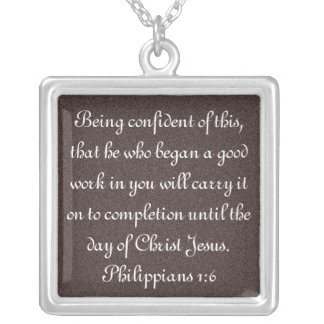Bible verse encouragement Philippians 1:6 necklace