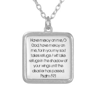 bible verse encouragement Psalm 57:1 Silver Plated Necklace