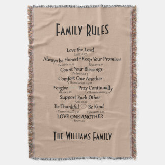 Bible Verse Family Rules Personalized Throw Blanket