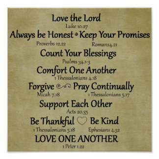 Bible Verse Family Rules Poster