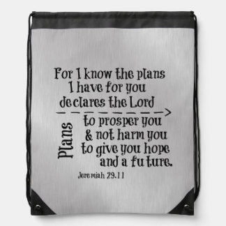 Bible Verse: For I know the Plans I have for you Cinch Bags