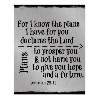 Bible Verse: For I know the Plans I have for you Poster