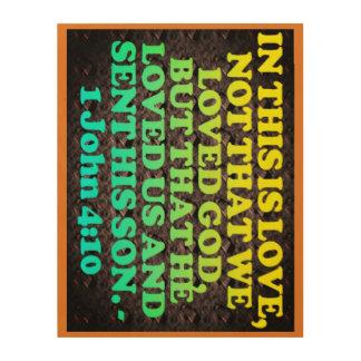 Bible verse from 1 John 4:10. Wood Wall Art