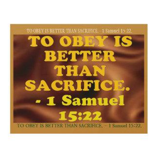 Bible verse from 1 Samuel 15:22. Wood Wall Decor