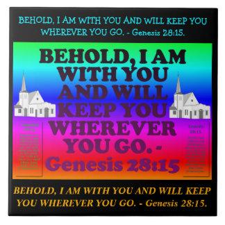 Bible verse from Genesis 28:15. Tile