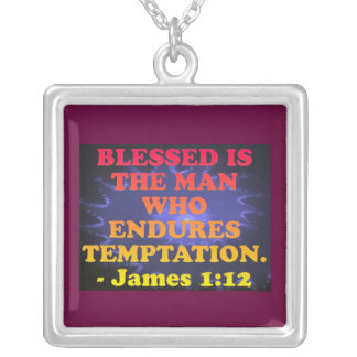 Bible verse from James 1:12. Silver Plated Necklace