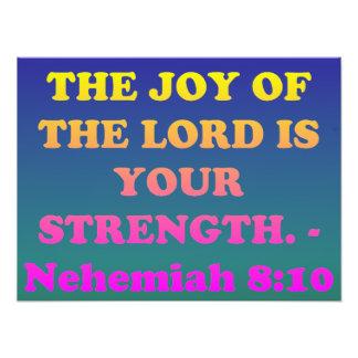 Bible verse from Nehemiah 8:10. Photo Print