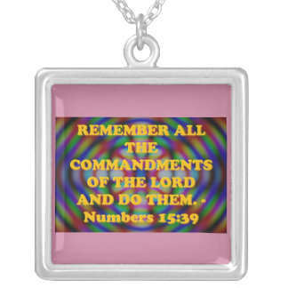 Bible verse from Numbers 15:39. Silver Plated Necklace