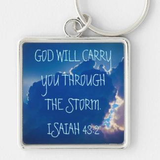 Bible verse Isaiah 43:2 key chain