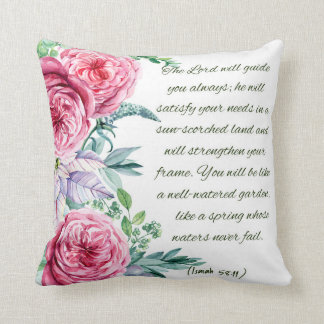 Bible Verse Isaiah 58:11 Throw Pillow